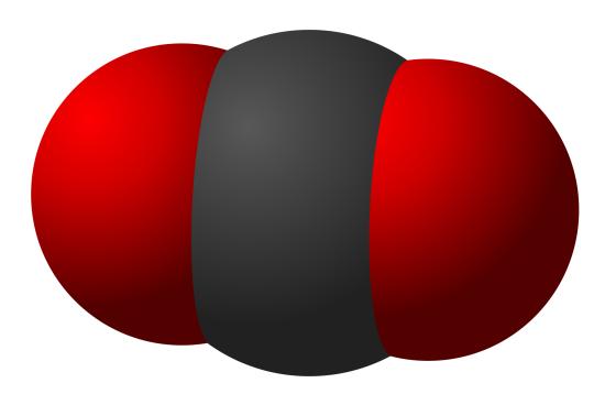 Estructura de la molécula de CO2. Negro, carbono. Rojo, oxígeno